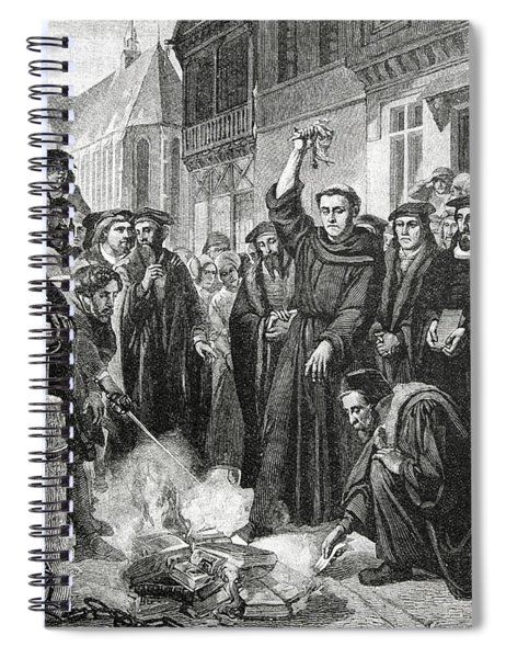 Martin Luther 1483 1546 Publicly Burning The Pope's Bull In 1521  Spiral Notebook