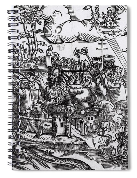 Martin Luther 1483 1546 Writing On The Church Door At Wittenberg In 1517 Spiral Notebook