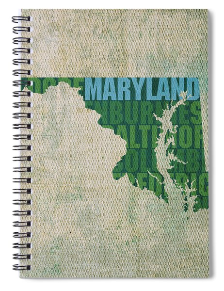 Maryland Word Art State Map On Canvas Spiral Notebook by Design Turnpike