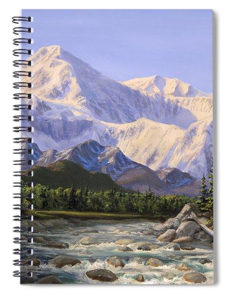 Majestic Denali Mountain Landscape - Alaska Painting - Mountains And River - Wilderness Decor Spiral Notebook