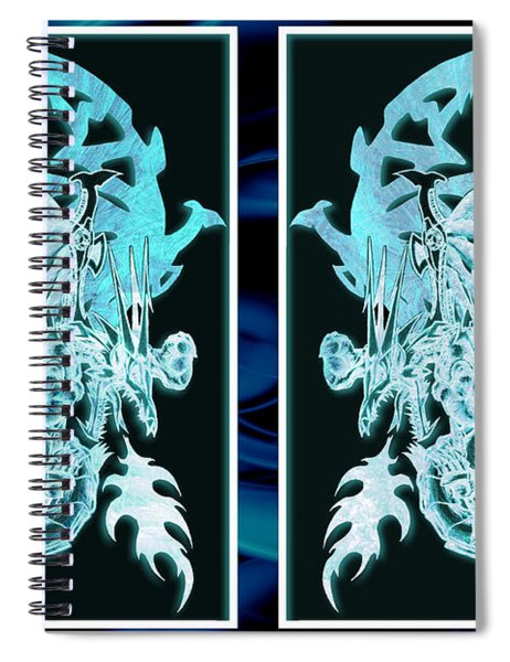Mech Dragons Diamond Ice Crystals Spiral Notebook