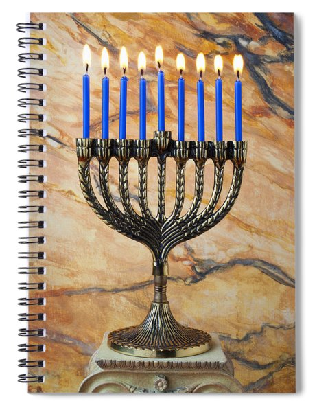 Menorah With Blue Candles Spiral Notebook