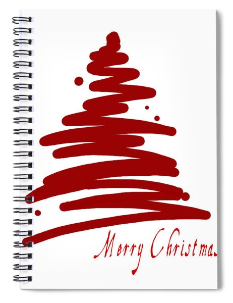 Merry Christmas Tree - Red Spiral Notebook
