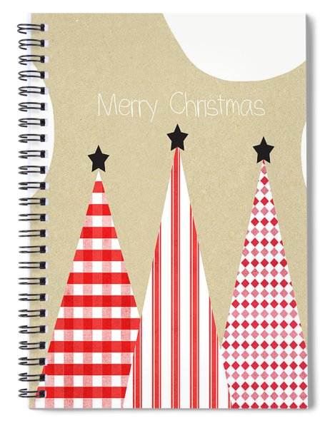 Merry Christmas With Red And White Trees Spiral Notebook by Linda Woods