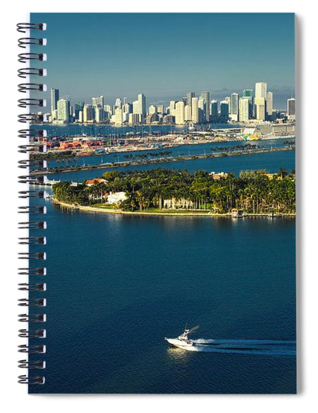 Miami City Biscayne Bay Skyline Spiral Notebook