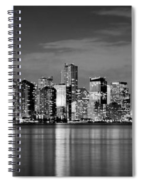 Miami Skyline At Dusk Black And White Bw Panorama Spiral Notebook
