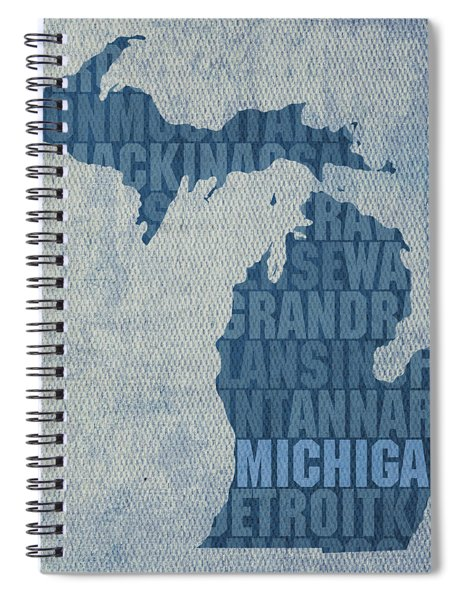 Michigan Great Lake State Word Art On Canvas Spiral Notebook by Design Turnpike