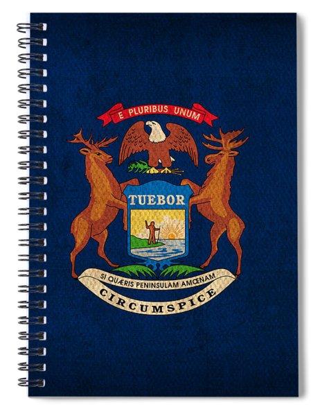 Michigan State Flag Art On Worn Canvas Spiral Notebook