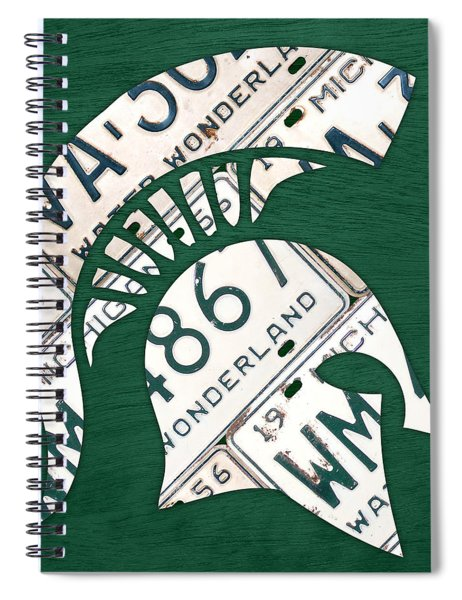Michigan State Spartans Sports Retro Logo License Plate Fan Art Spiral Notebook