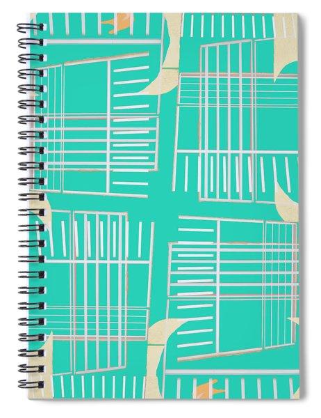 Mid-century Design Aqua Spiral Notebook