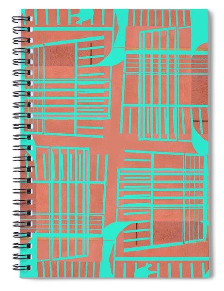 Mid-century Design Dark Turquoise Spiral Notebook