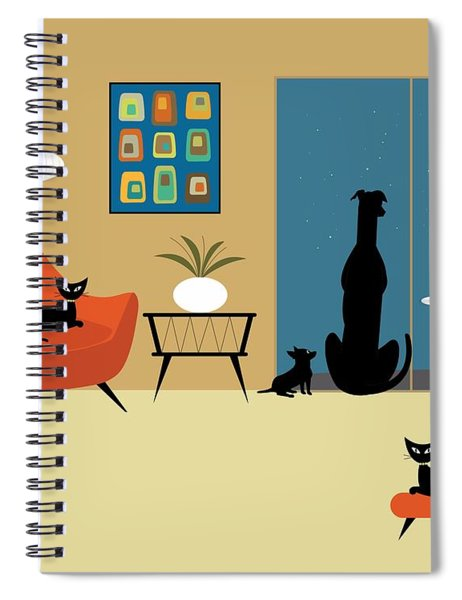 Mid Century Dogs And Cats Spiral Notebook