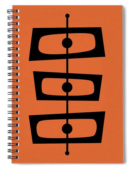 Mid Century Shapes On Orange Spiral Notebook