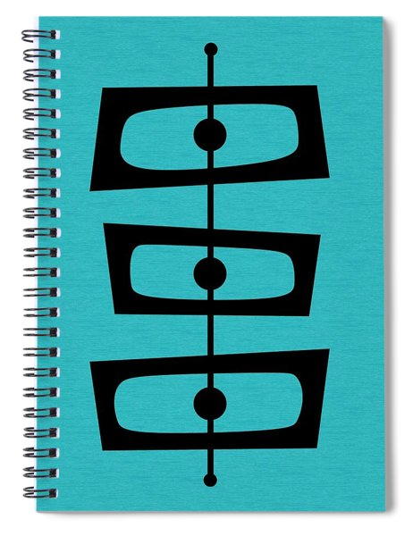 Mid Century Shapes On Turquoise Spiral Notebook