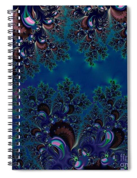 Midnight Blue Frost Crystals Fractal Spiral Notebook