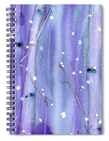 Midnight Snow In The Aspens Spiral Notebook