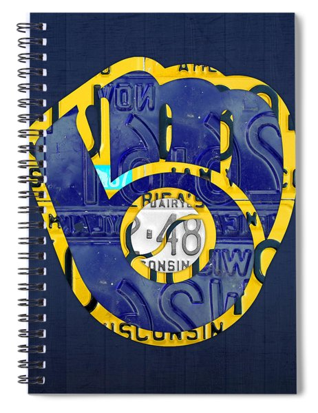 Milwaukee Brewers Vintage Baseball Team Logo Recycled Wisconsin License Plate Art Spiral Notebook