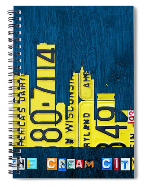 Milwaukee Wisconsin City Skyline License Plate Art Vintage On Wood Spiral Notebook