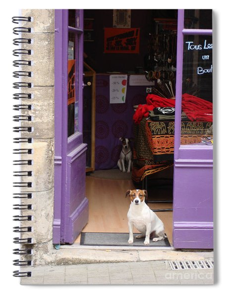 Minding The Shop. Two French Dogs In Boutique Spiral Notebook