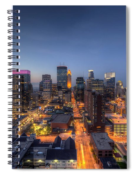 Minneapolis Skyline At Night Spiral Notebook