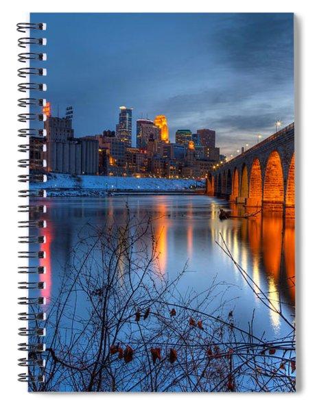 Minneapolis Skyline Images Stone Arch Bridge Spring Evening Spiral Notebook