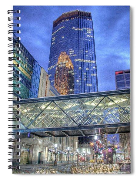 Minneapolis Skyline Photography Nicollet Mall Winter Evening Spiral Notebook