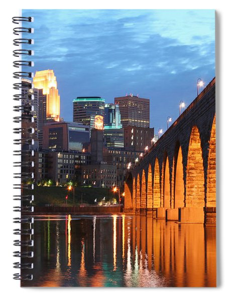Minneapolis Skyline Photography Stone Arch Bridge Spiral Notebook