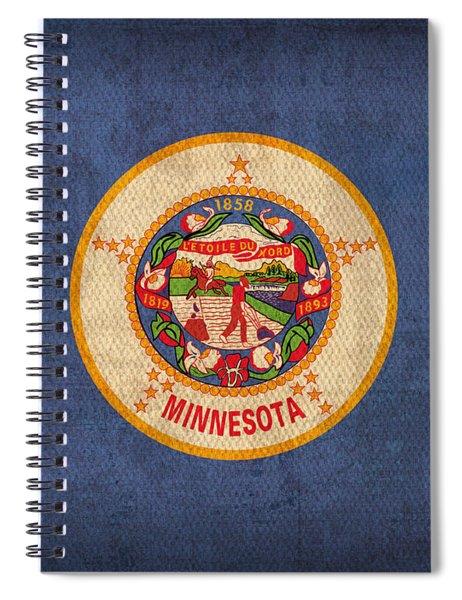 Minnesota State Flag Art On Worn Canvas Spiral Notebook by Design Turnpike