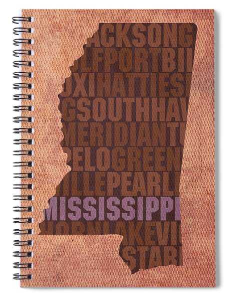 Mississippi Word Art State Map On Canvas Spiral Notebook by Design Turnpike