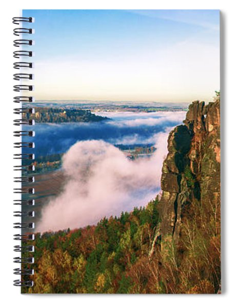 Mist Flow Around The Fortress Koenigstein Spiral Notebook