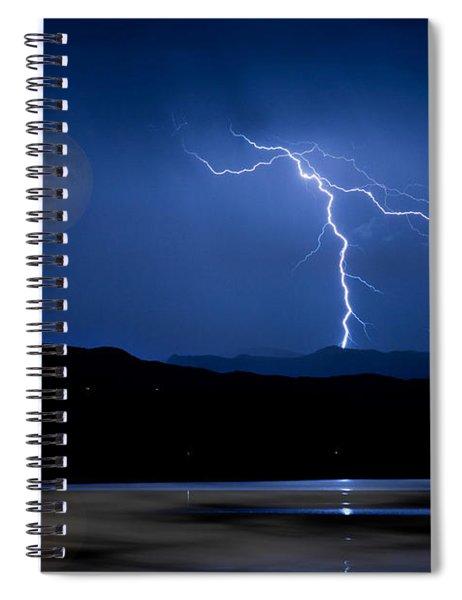 Misty Lake Full Moon Lightning Storm Fine Art Photo Spiral Notebook