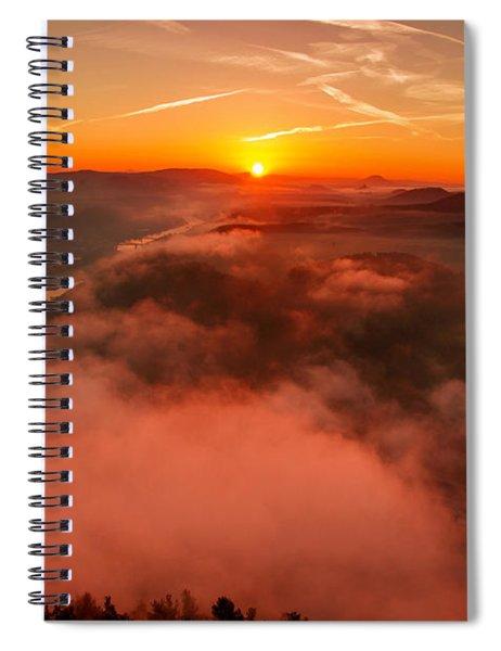 Misty Sunrise On The Lilienstein Spiral Notebook