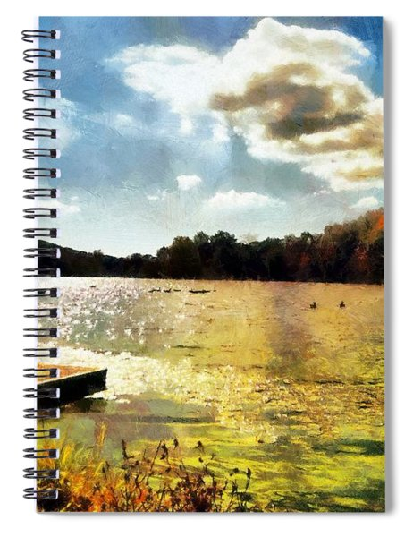 Spiral Notebook featuring the painting Mohegan Lake Gold by Derek Gedney