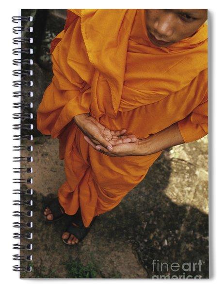 Monk In Saffron Robes Cambodia Spiral Notebook
