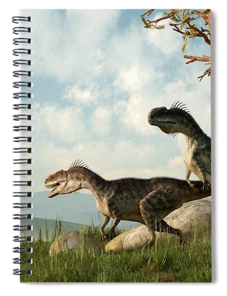 Monolophosaurs On The Hunt Spiral Notebook