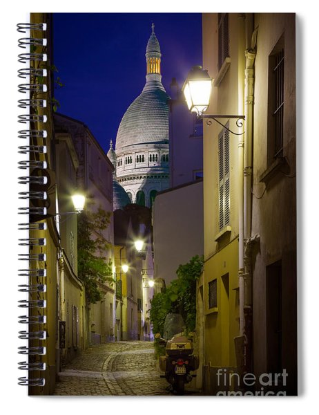 Montmartre Street And Sacre Coeur Spiral Notebook