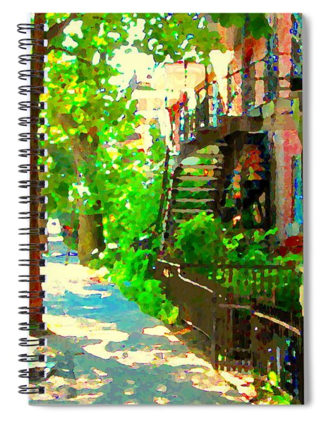 Montreal Art Colorful Winding Staircase Scenes Tree Lined Streets Of Verdun Art By Carole Spandau Spiral Notebook
