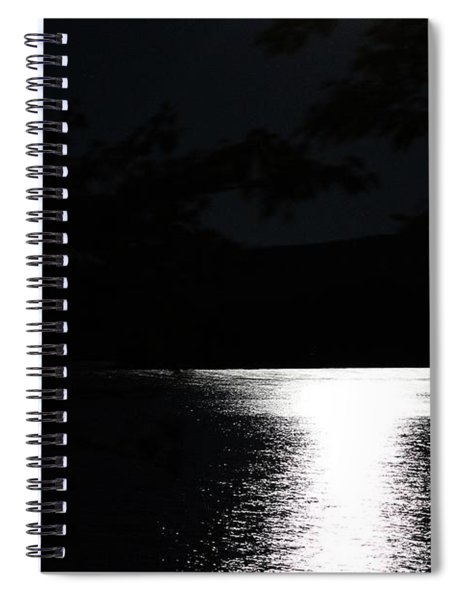 Moon On Waterton Lake Spiral Notebook