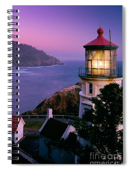 Spiral Notebook featuring the photograph Moon Over Heceta Head by Inge Johnsson