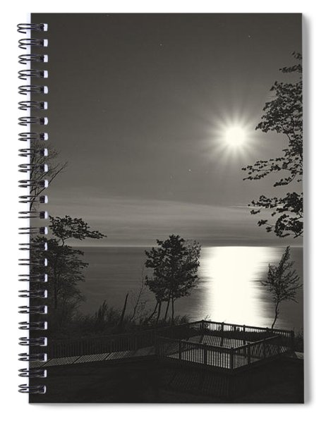 Moon Over Lake Michigan In  Black And White Spiral Notebook