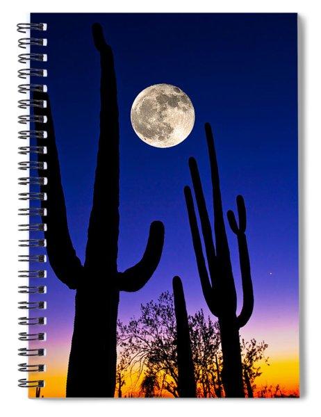 Moon Over Saguaro Cactus Carnegiea Spiral Notebook