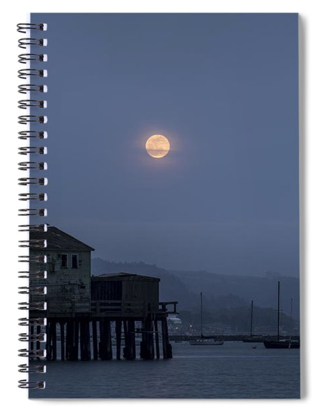 Moonrise Over The Harbor Spiral Notebook