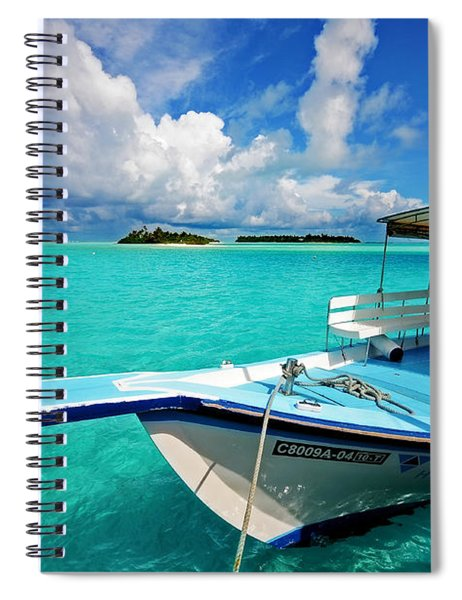 Moored Dhoni At Sun Island. Maldives Spiral Notebook