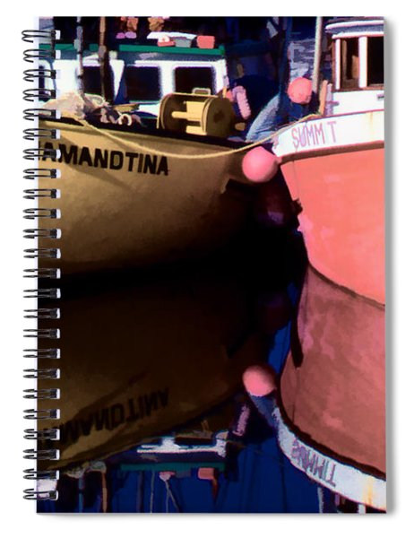 Moored Fishing Boats Spiral Notebook