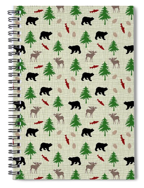 Moose And Bear Pattern Spiral Notebook
