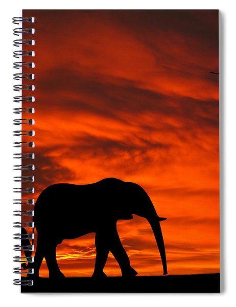 Mother And Baby Elephants Sunset Silhouette Series Spiral Notebook