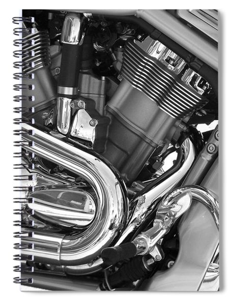 Motorcycle Close-up Bw 1 Spiral Notebook