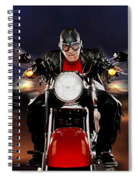 Motorcycle Rider Between Two Semi Trucks Spiral Notebook