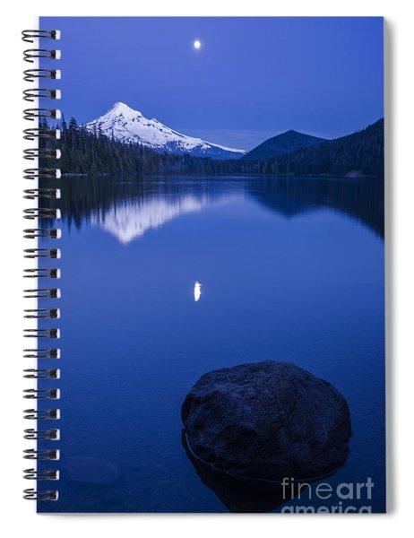 Mount Hood Under Moon Light Spiral Notebook