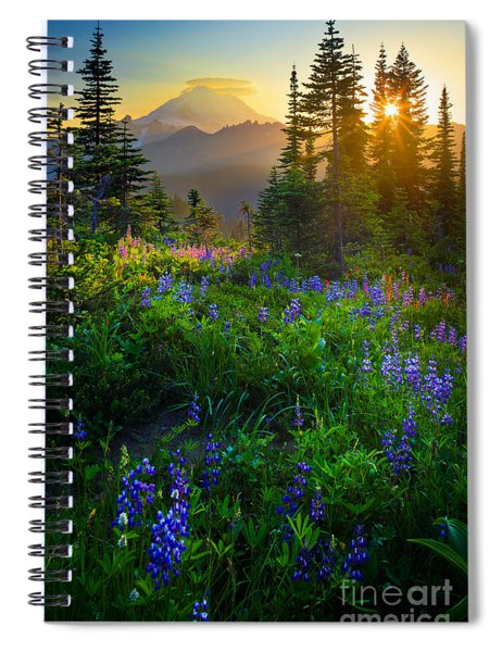 Mount Rainier Sunburst Spiral Notebook
